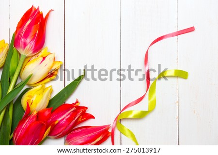 multicolored tulips on a white wooden background