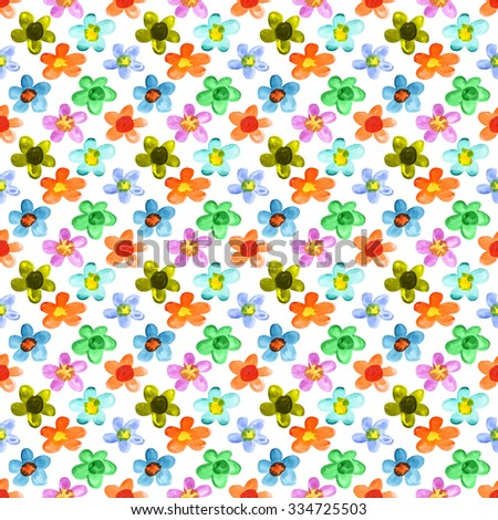 Multicolored watercolor flowers - seamless floral pattern - stock photo