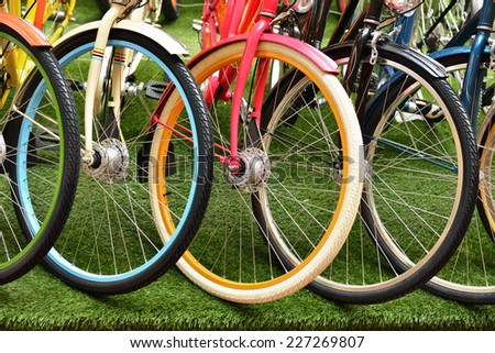 Multicolored wheel different bikes. Sports and Recreation - stock photo