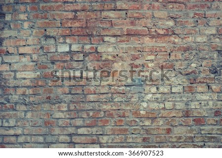 Multicoloroed brick wall texture background. Vintage effect.  - stock photo
