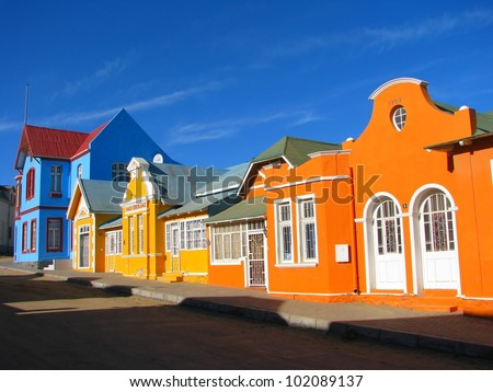 Multicoloured houses in Nachtigal Strasse, Luderitz, Namibia - stock photo