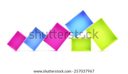Multicoloured wooden boxes isolated on white - stock photo