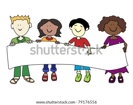 Multicultural cartoon kids holding a very large white banner ready for your text. - stock photo