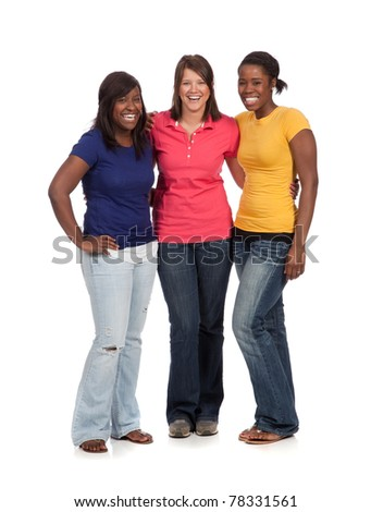 Multicultural Female College students/friends - stock photo