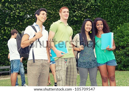 Multicultural Group of College Students,Italy - stock photo