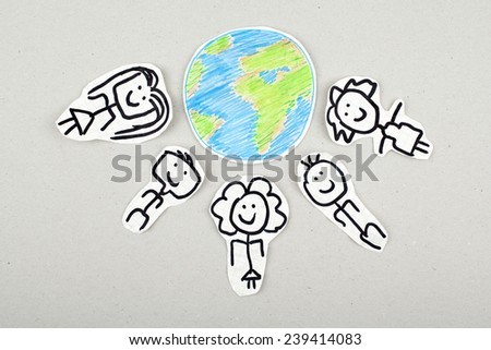 Multicultural People Around Earth / Cultural Diversity / World Peace - stock photo