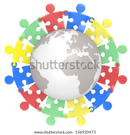 Multicultural. Puzzle people holding hands around the Globe. Color Version. Isolated. - stock photo