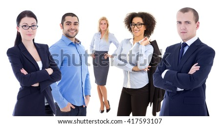 multicultural team - young business people isolated on white background - stock photo