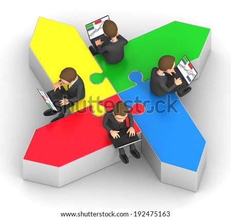 multidirectional business team work - stock photo