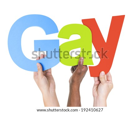 Multiethnic Arms Raised Holding Text Gay - stock photo