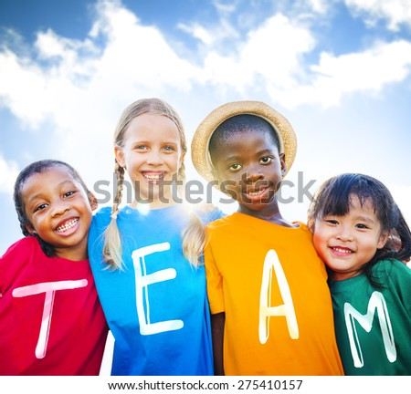 Multiethnic Children Smiling Happiness Friendship Concept - stock photo