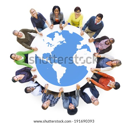 Multiethnic Diverse People in a Circle Holding Hands - stock photo