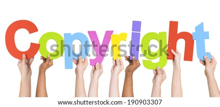 Multiethnic Group of Hands Holding Copyright - stock photo