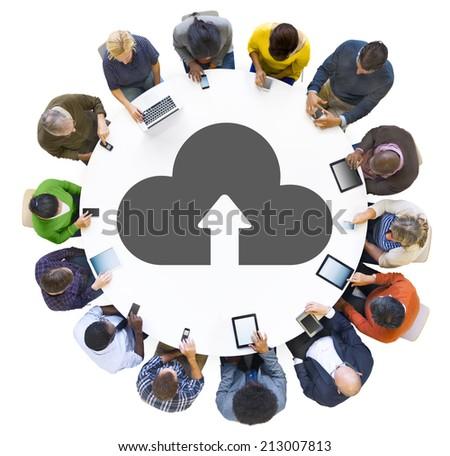 Multiethnic Group of People Cloud Computing  - stock photo