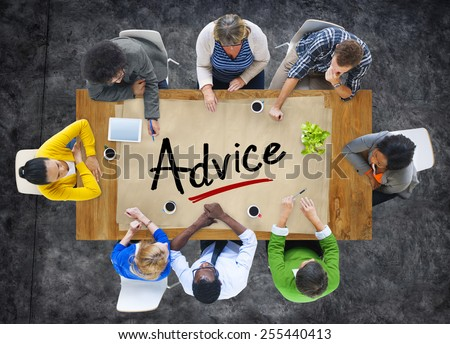 Multiethnic Group of People Discussing About Advice - stock photo