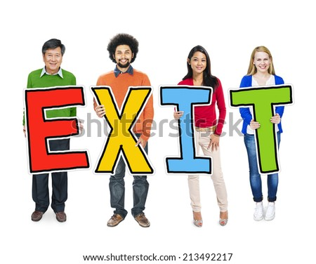 Multiethnic Group of People Holding Letter Exit - stock photo