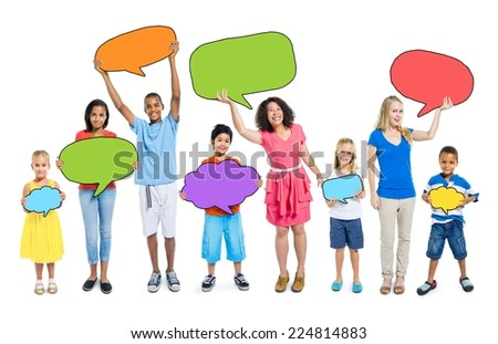 Multiethnic Group of People with Speech Bubbles - stock photo