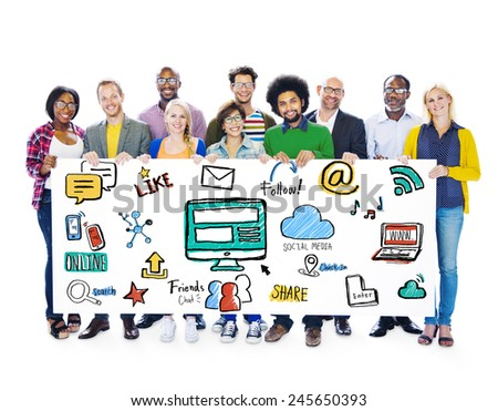 Multiethnic People Global Communications Social Media Banner Concept - stock photo