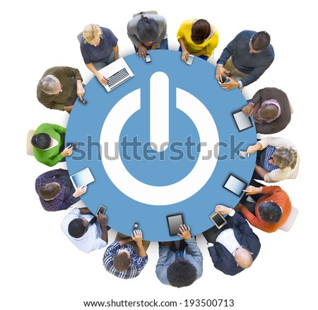 Multiethnic People Social Networking with Power Symbol - stock photo