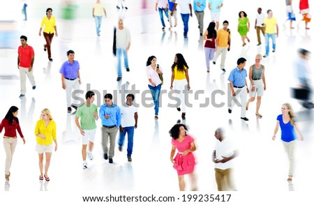 Multiethnic People Walking and Talking Isolated on White - stock photo