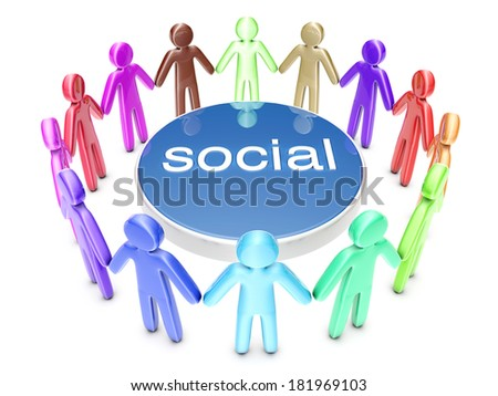 Multiethnic Social Network. A group of icon people standing in a circle. 3D rendered Illustration. - stock photo