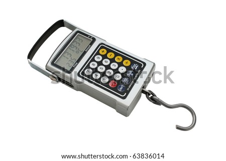 Multifunction electron fishhook scale. Closeup, isolated on a white background. - stock photo