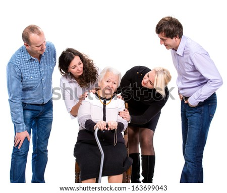 Multigeneration family on a white background - stock photo