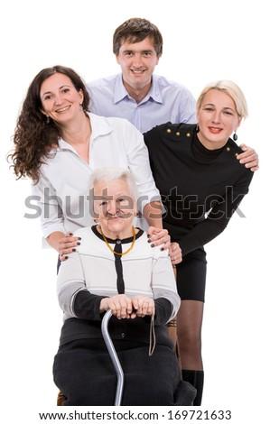 Multigeneration happy family on a white background - stock photo