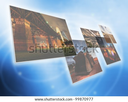 Multimedia center - touching screen entertainment center - stock photo
