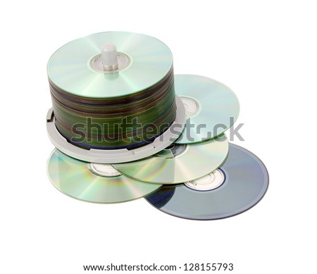 Multimedia data storage, different color of recording surfaces demonstrated - stock photo