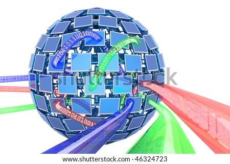 Multimedia. Hi-res digitally generated image. - stock photo