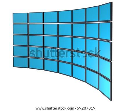 Multimedia monitor display wall concept - stock photo