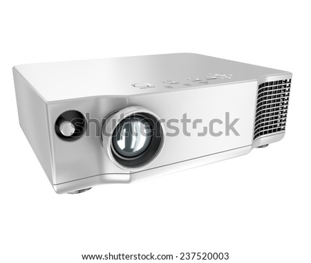 multimedia projector on white background - stock photo
