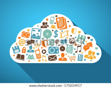 Multimedia social networks and mobile apps in the cloud concept  illustration - stock photo
