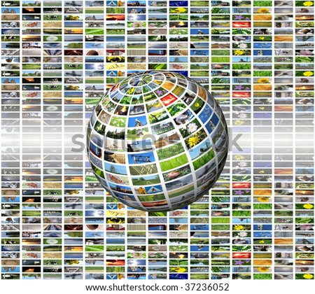 multimedia sphere - stock photo