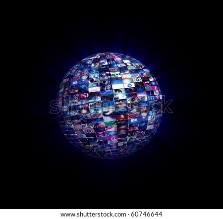 Multimedia Video Wall Sphere Ninety video stills on a sphere with light rays. - stock photo