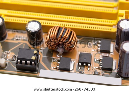Multiphase power system modern memory on the motherboard - stock photo