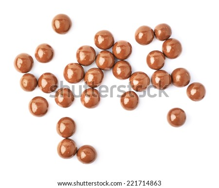 Multiple chocolate ball candies composition, isolated over the white background, top view above foreshortening - stock photo
