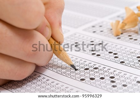 Multiple choice examination form or customer service satisfaction survey. - stock photo