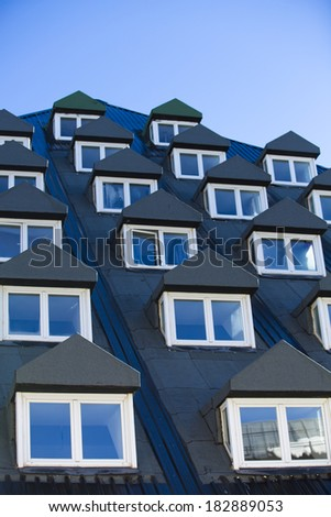 Multiple closed windows on a ski resort. - stock photo
