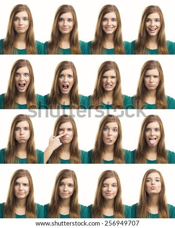 Multiple collage of a beautiful young woman with different expressions - stock photo