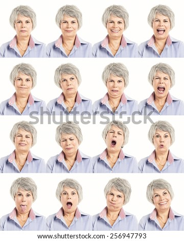 Multiple collage of a elderly woman in different expressions - stock photo