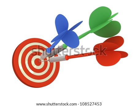 Multiple colourful arrows hit dead accurate   (Isolated on White Background) - stock photo