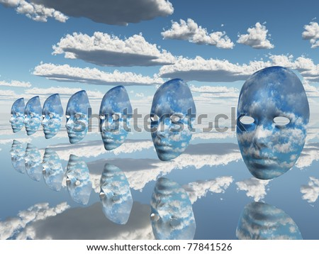 multiple disembodied faces hover in surreal scene - stock photo