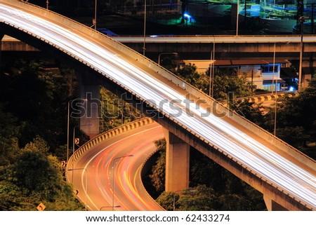 multiple elevated highways in Bangkok Thailand - stock photo