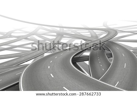 multiple empty roads symbolizing choice - stock photo