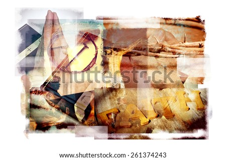 multiple exposures of different Christian and Catholic symbols, such as the Jesus Christ, the Holy Cross, the Crown of Thorns or a Holy Bible - stock photo