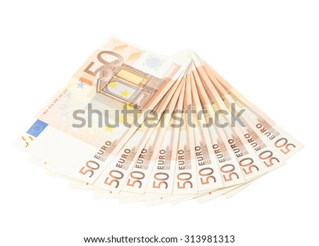 Multiple fifty euro bank notes arranged like a fan, composition isolated over the white background - stock photo