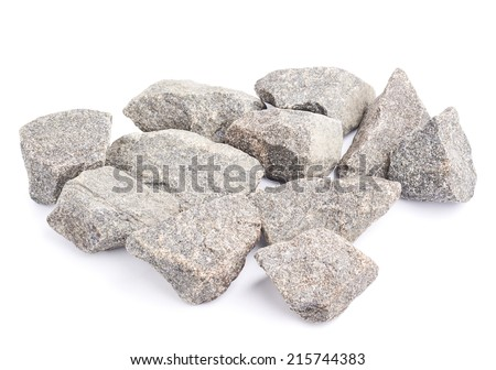 Multiple granite stones composition isolated over the white background - stock photo