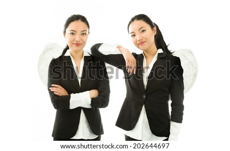 Multiple image representing angel sides of a young Asian businesswoman isolated on white background - stock photo